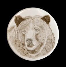 Red BearThis is the obverse of one of two medallions I did for a couple.  They were on Corian, 1 ¾ inches in diameter and about 1/8 inch thick.  I did this bear under extreme magnification from a photograph.